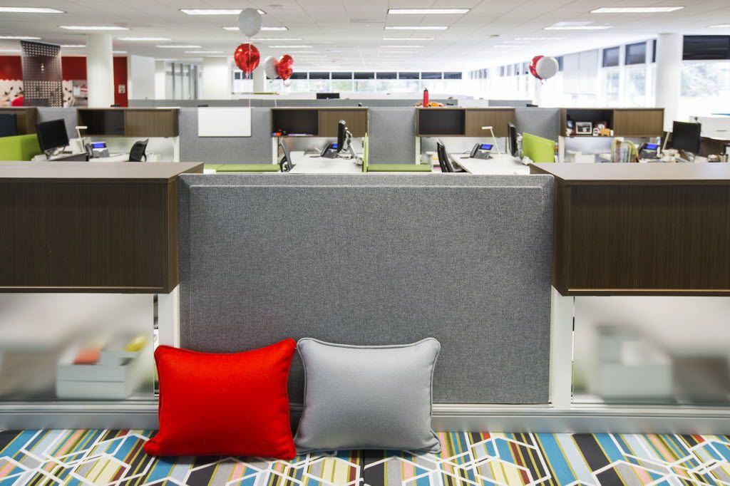 Toyota's temporary offices in Plano feature the flexible workspace designs that the company wants in its new campus. This shows seating space in front of workstations by Herman Miller. Toyota is trying out different designs from four manufacturers. (Smiley N. Pool/The Dallas Morning News)