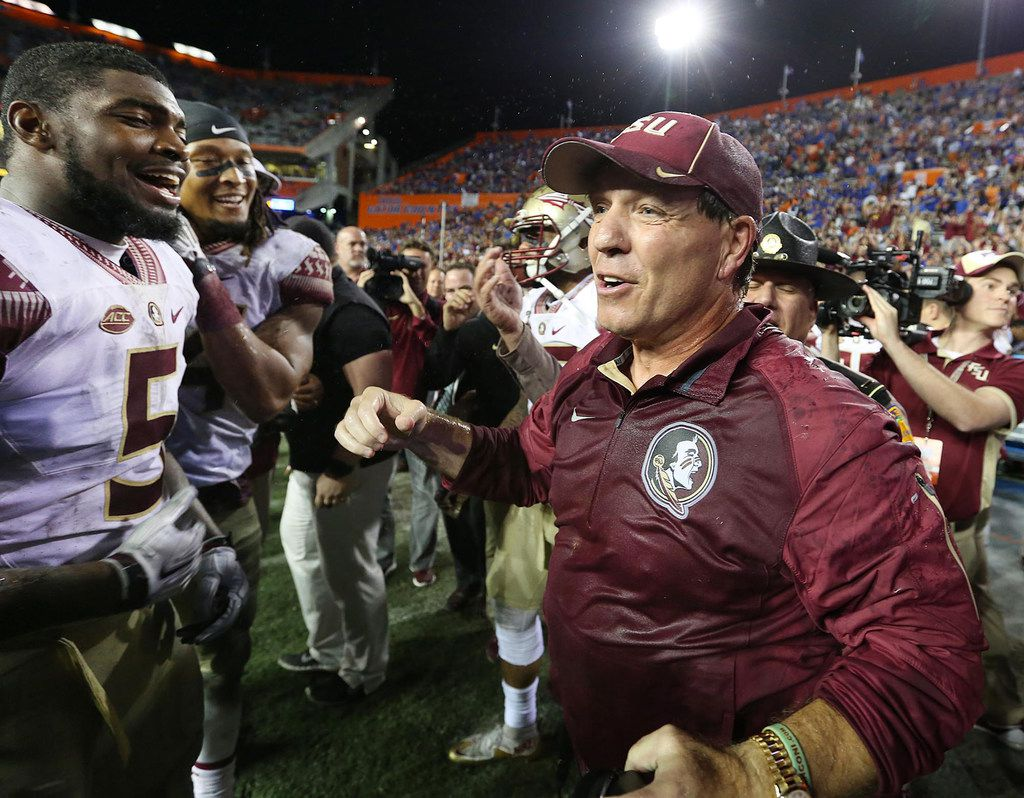 FILE - Florida State head coach Jimbo Fisher celebrates a 27-2 win against Florida at Ben Hill Griffin Stadium in Gainesville, Fla., on Saturday, Nov. 28, 2015. (Stephen M. Dowell/Orlando Sentinel/TNS)