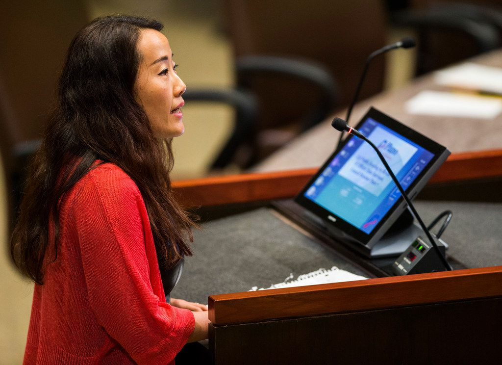 Ling Feltyniak speaks in support of Plano City Council member Tom Harrison at a hearing in which he defended his post on social media about banning Islam in public schools on Monday, April 23, 2018 at Plano City Hall. The council is considering a recall of the November 6 election. (Ashley Landis/The Dallas Morning News)