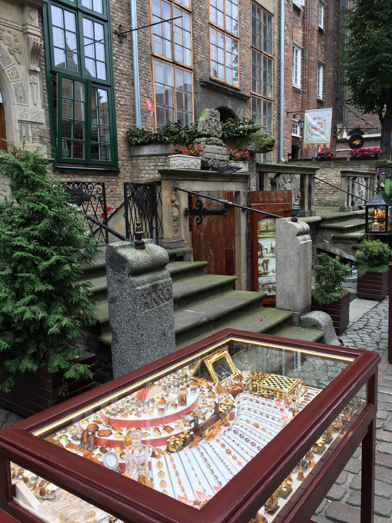 One of many amber shops in Gdansk, Poland