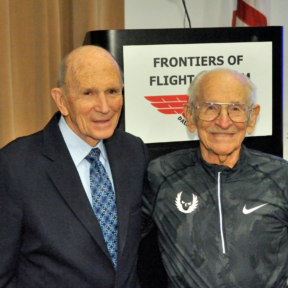 """Orville Rogers poses with his friend Dr. Kenneth Cooper in 2017. Cooper is sometimes regarded as the """"Father of Aerobics."""" First published in 1968, his then-controversial book Aerobics has been credited with sparking the marathon boom that continues today. Rogers read it when he was 50 years old and began running the next day."""