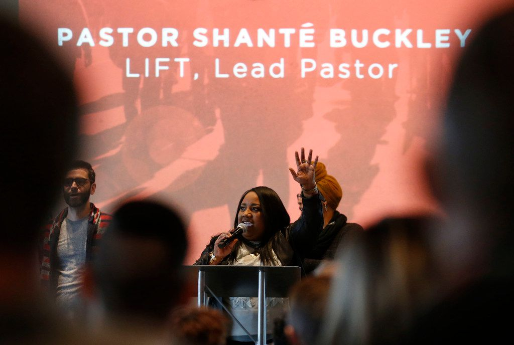 Pastor Shanté Buckley speaks at LIFT Community Church in Dallas on Jan. 7, 2018. The church was founded in 2015 and officially launched in 2016.