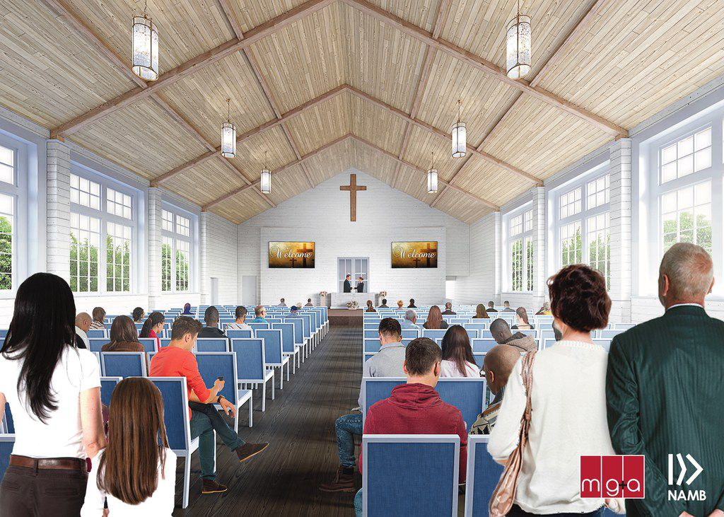 Rendering of the interior view of First Baptist Church Sutherland Springs, Texas, will undertake construction on two new buildings beginning in May. The buildings'  worship center seating 250 people and an education building will be completed in early 2019. Pastor Frank Pomeroy shared details of the plan with media on Tuesday, March 27. FBC Sutherland Springs was the site of one of the worst mass shootings in United States history when a gunmen took the lives of 26 worshippers on Nov. 5, 2017. Another 20 church members were injured in the attack. Details and opportunities to donate to the effort can be found at restoresutherlandsprings.com or namb.net.