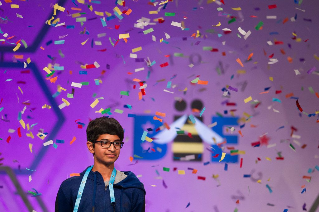 Karthik Nemmani, 14, from McKinney, Texas, wins the Scripps National Spelling Bee in Oxon Hill, Md., Thursday, May 31, 2018. (AP Photo/Cliff Owen)