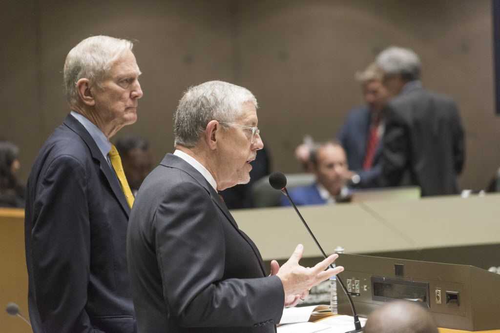 Walt Humann (left), CEO of the Fair Park Texas Foundation, and Willis Winters, director of the Dallas Park and Recreation department, briefed the City Council about the foundation's plan in August.