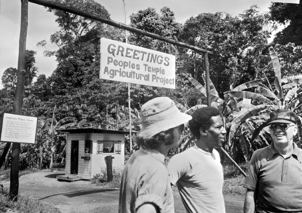"Picture taken in 1978 of ""Temple of people"" members in front of the agricultural department of the sect, in Georgetown, renamed Jonestown, Jim Jones guru's name. Overnight on Nov. 20 1978, bodies of hundreds of members of the sect were discovered after they committed  mass suicide or were murdered. (Agence-France Presse)"