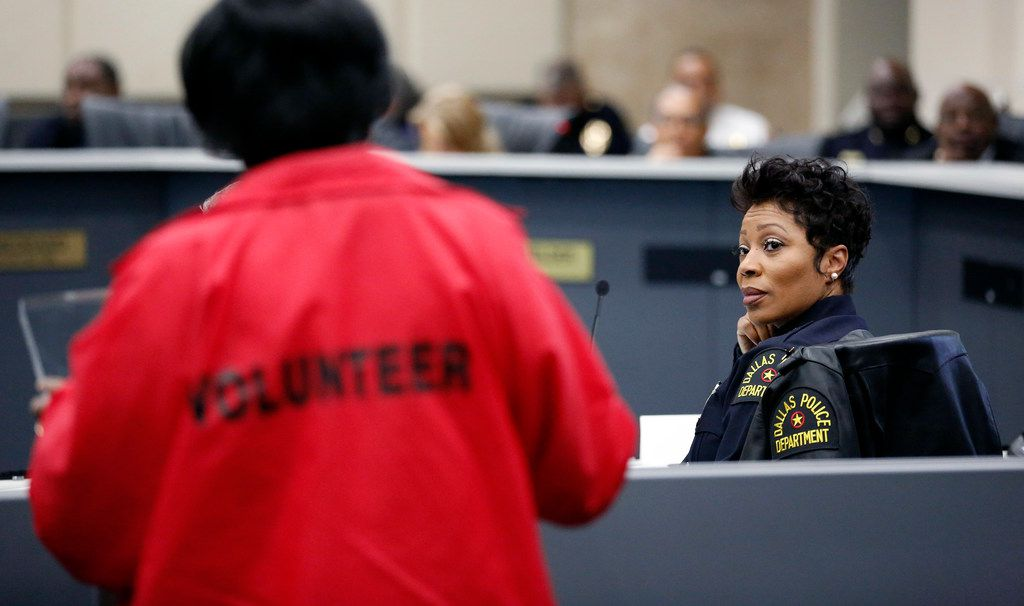 Dallas Police Chief U. Renee Hall (right) listened to the concerns of Camp Wisdom NOW founder Edna Pemberton during a City Hall discussion Monday about Dallas' juvenile curfew ordinance.