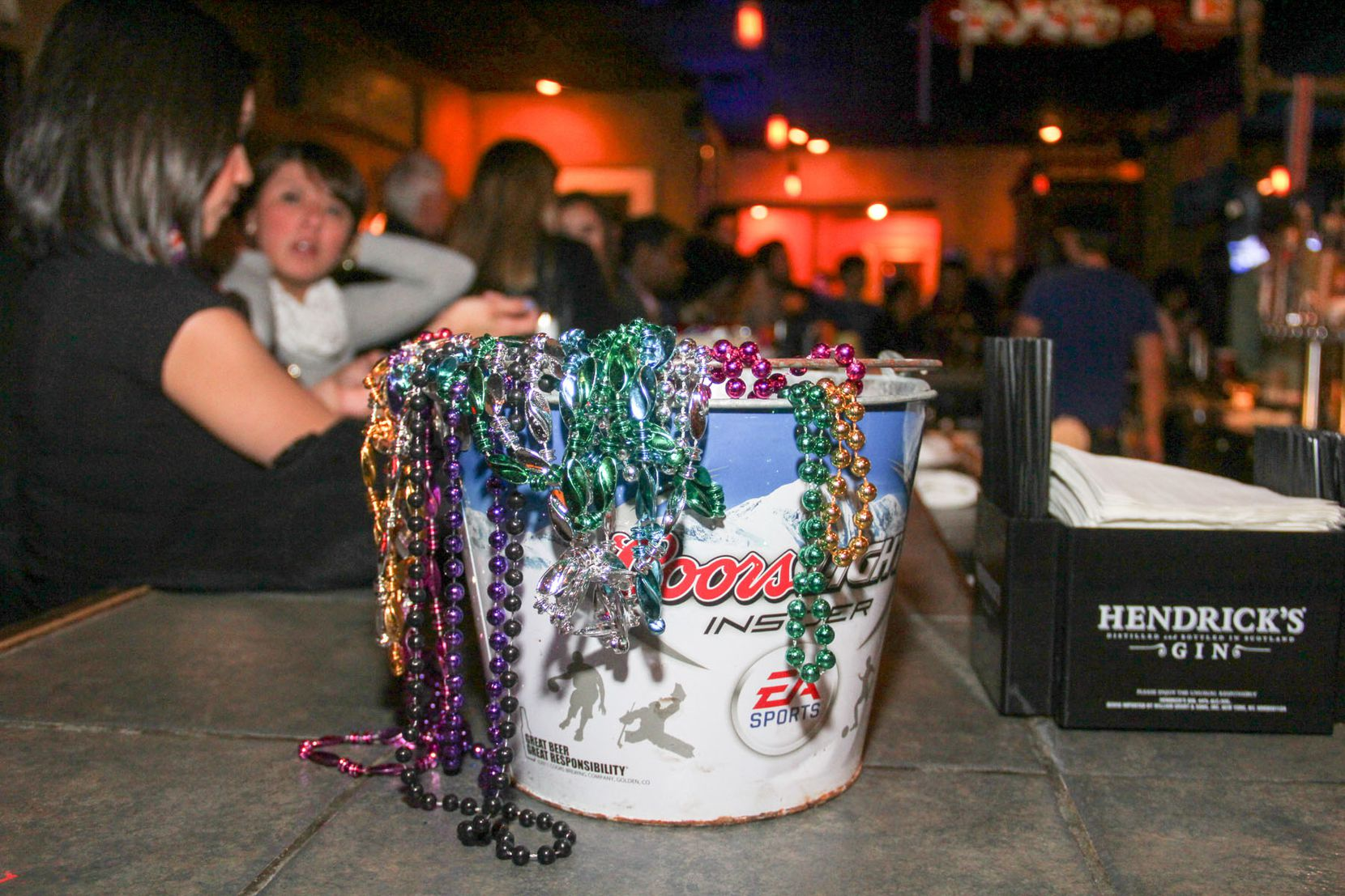 The Quarter Bar's Mardi Gras party includes a free buffet.