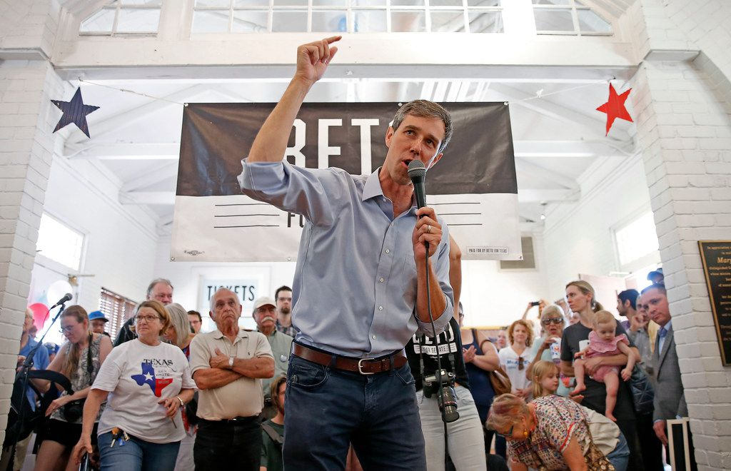 Congressman Beto O'Rourke spoke to supporters during a town hall at the Historic Santa Fe Train Depot in Gainesville on Saturday. He has now visited all 254 Texas counties since announcing his candidacy last year to unseat U.S. Sen. Ted Cruz.