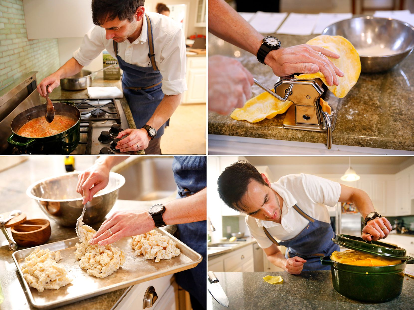 Clockwise from top left: Barsotti prepares Bolognese sauce; rolling out pasta sheets; dividing penne in bechamel; readying the 24-pound, 21-layer creation for the oven (Tom Fox/Staff Photographer)