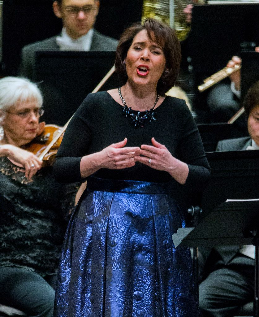 Soprano Jessica Rivera performing with the Fort Worth Symphony Orchestra conducted by Robert Spano, not pictured, at Bass Performance Hall in Fort Worth, Texas on Saturday, March 16, 2019.