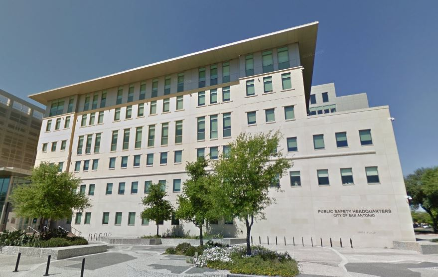 Shots were fired at the San Antonio Public Safety Headquarters late Saturday.