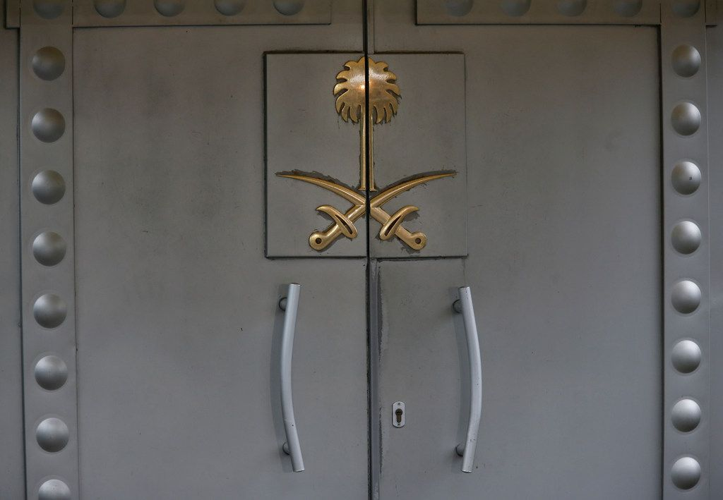 The front entrance to the Saudi Arabia's consulate in Istanbul, remains closed, Thursday, Oct. 18, 2018. Turkish crime-scene investigators finished an overnight search of both residence and a second search of the consulate itself amid Ankara's fears that Saudi writer Jamal Khashoggi was killed and dismembered inside the diplomatic mission in Istanbul.