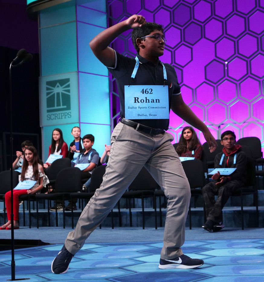 "NATIONAL HARBOR, MARYLAND - MAY 30: Rohan Raja of Irving, Texas, celebrates after he correctly spelled the word ""ferraiolone"" during round eight of the Scripps National Spelling Bee at the Gaylord National Resort & Convention Center May 30, 2019 in National Harbor, Maryland. Students from across the country and around the world compete in the spelling competition, which started in 1925. (Photo by Alex Wong/Getty Images)"
