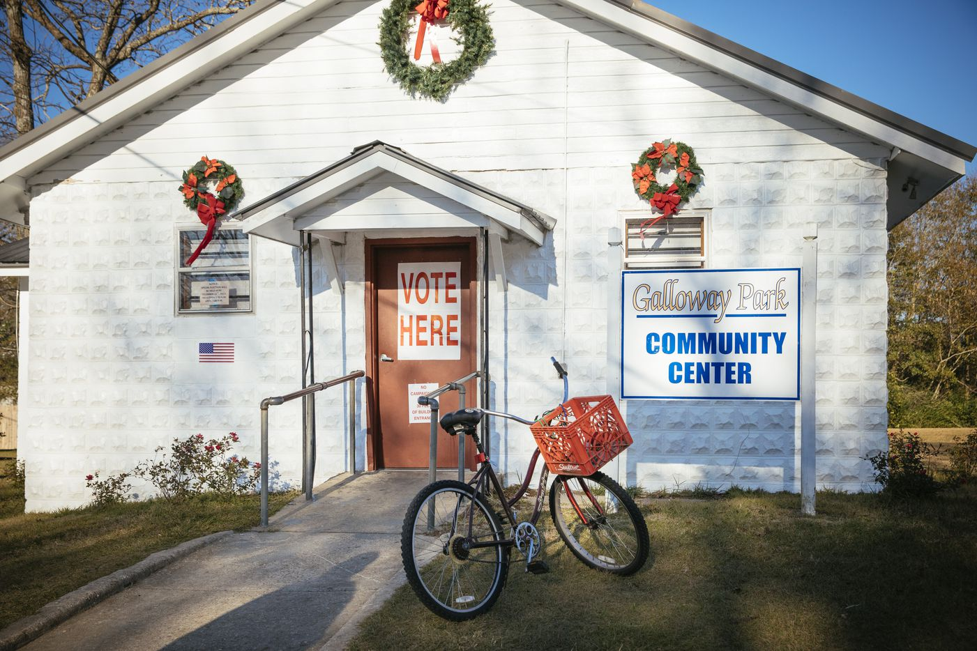 The polling place at Galloway Park Community Center in Brundidge, Ala., Dec. 12, 2017. Alabama voters went to the polls Tuesday to decide between Roy Moore, a Republican, and Doug Jones, a Democrat, in a special Senate election destined to be remembered as a strange and ugly campaign carrying immense political implications. (Audra Melton/The New York Times)