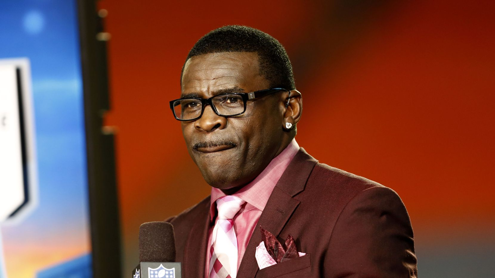 Oct 31, 2013; Miami Gardens, FL, USA; NFL Network analyst Michael Irvin before a game between the Cincinnati Bengals and the Miami Dolphins at Sun Life Stadium.