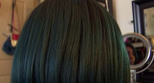 A close-up of Kate's turquoise wig from a video interview with NBC5.