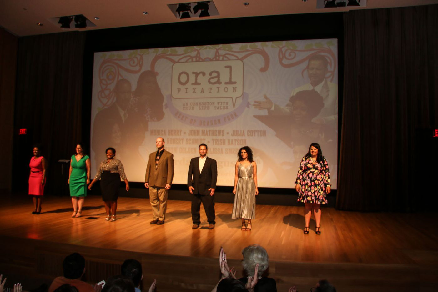 """The cast of storytellers at Oral Fixation's """"The Best of Season Four"""" at the Dallas Museum of Art on August 15, 2015"""