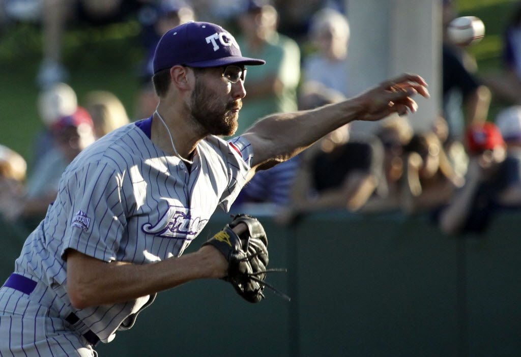 TCU starting pitcher Matt Purke throws a pitch in the first inning during the TCU Horned Frogs vs. Dallas Baptist University Patriots college baseball playoff game at Lupton Stadium in Fort Worth on Saturday, June 4, 2011.  (Louis DeLuca/The Dallas Morning News)