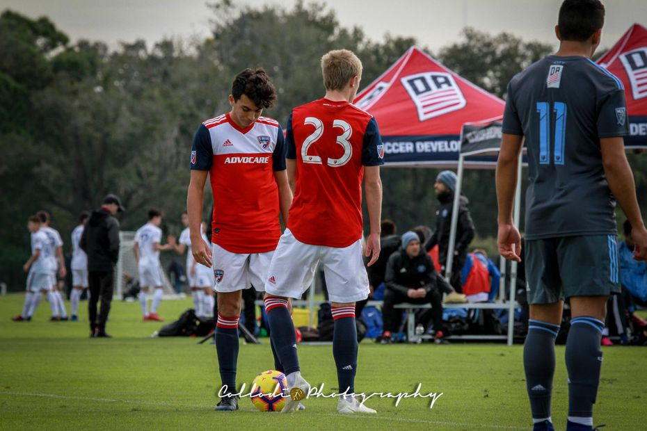 Johan Gomez awaits kickoff with Thomas Roberts of FC Dallas in the 2019 Winter Showcase.