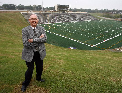 Garland ISD athletic director Homer B. Johnson is pictured at the stadium baring his name in  Garland, Texas, Wednesday, October  17, 2007.