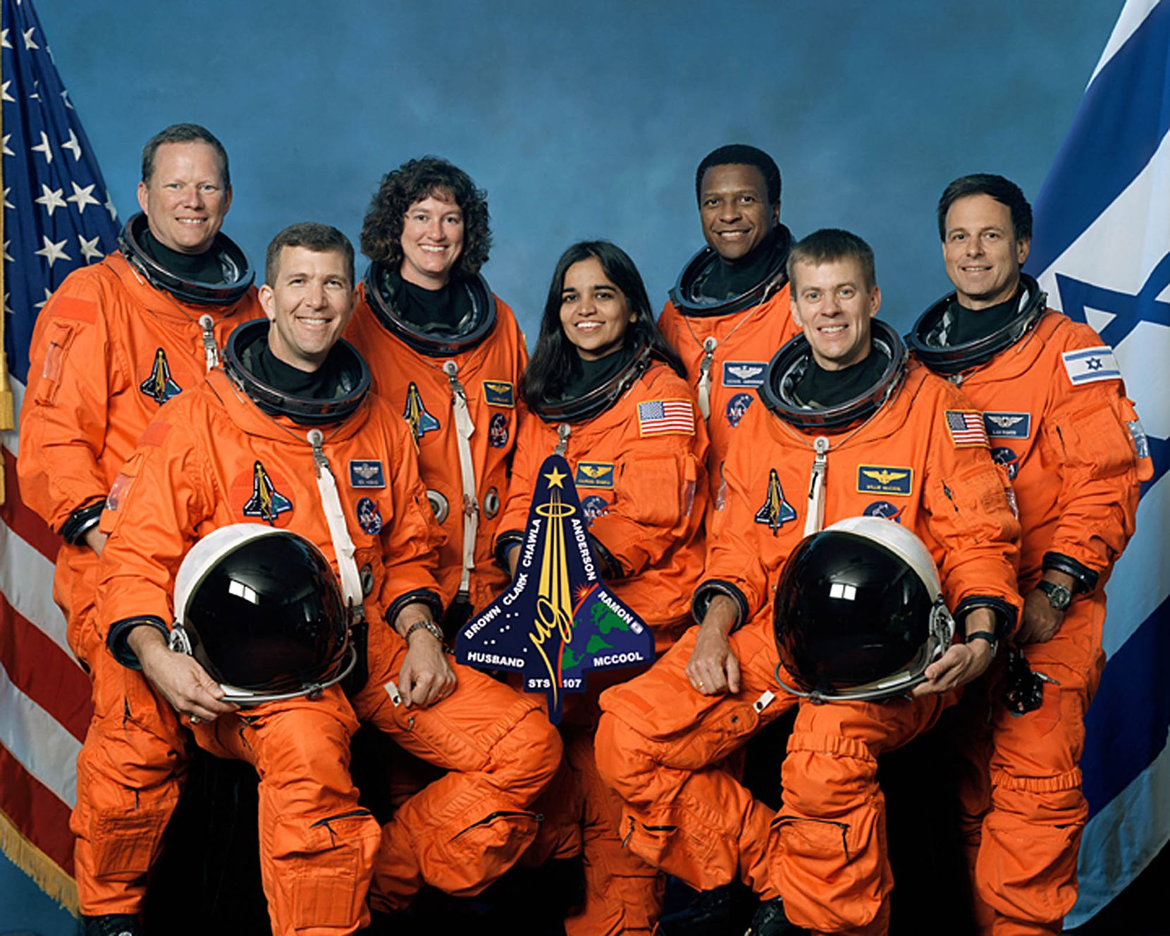 """(FILES): This undated NASA handout image obtained 26 August, 2003 shows the crew of the US space shuttle Columbia.  The accident of the US pace shuttle Columbia one decade ago, February 1, 2003, which claimed the lives of seven astronauts on board, was crucial in ending the US shuttle program in 2011. On the 10th anniversary of the disaster NASA will  commemorate the astronauts killed in the ill-fated mission in a ceremony to be held February 1, 2013 at the military cemetery in Arlington, Virginia,  near Washington, DC. Front from left are: astronauts Rick D. Husband, mission commander; Kalpana Chawla, mission specialist; and William C. McCool, pilot. Rear from left are:  David M. Brown, Laurel B. Clark, and Michael P. Anderson, all mission specialists; and Ilan Ramon, payload specialist, representing the Israeli Space Agency.      AFP PHOTO / FILES / NASA   == RESTRICTED TO EDITORIAL  USE / MANDATORY CREDIT:  """"AFP PHOTO / NASA"""" /  NO SALES / NO MARKETING / NO ADVERTISING CAMPAIGNS / DISTRIBUTED AS A SERVICE TO CLIENTS ==NASA/AFP/Getty Images"""