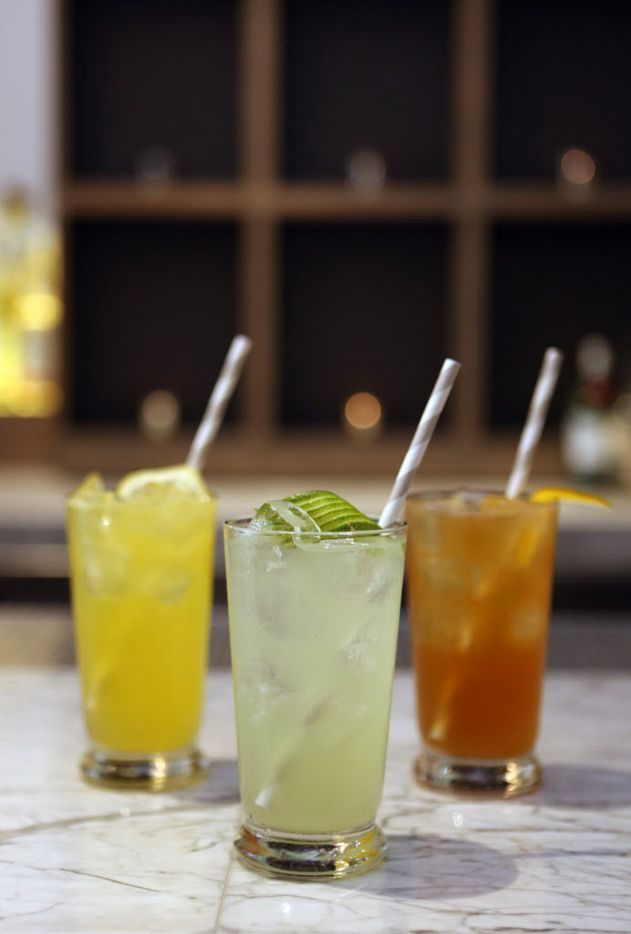 Remedy has a variety of highballs including: The Better Lemon, Hystrix Rickey, and Lansky (left to right) at their lower Greenville restaurant and bar in Dallas, Texas, shown Thursday, March 19, 2015.