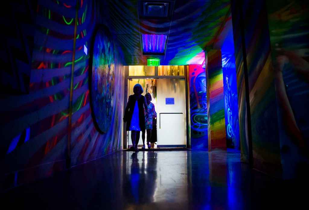 "Upon entering Psychedelic Robot, patrons will walk in to ""The Vortex"" by Michael McPheeters and IZK."
