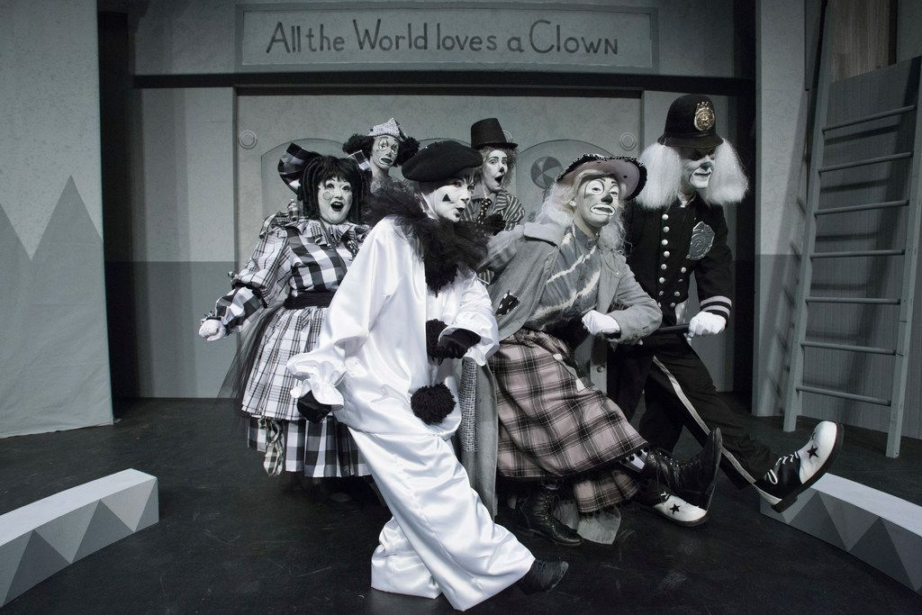 From left, back row: Robert Long and Alex Moore; middle row: Shelia D. Rose, Beth Lipton and David Noel; front row: Mary-Margaret Pyeatt in Pegasus Theatre's  Clowning Around With Murder! at Eisemann Center in Richardson.