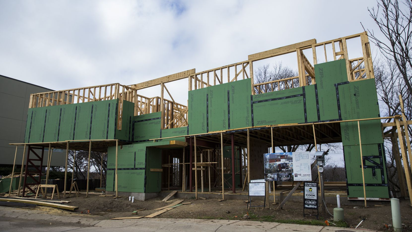 The exterior of a home under construction in builder Diane Cheatham's Urban Reserve home development.