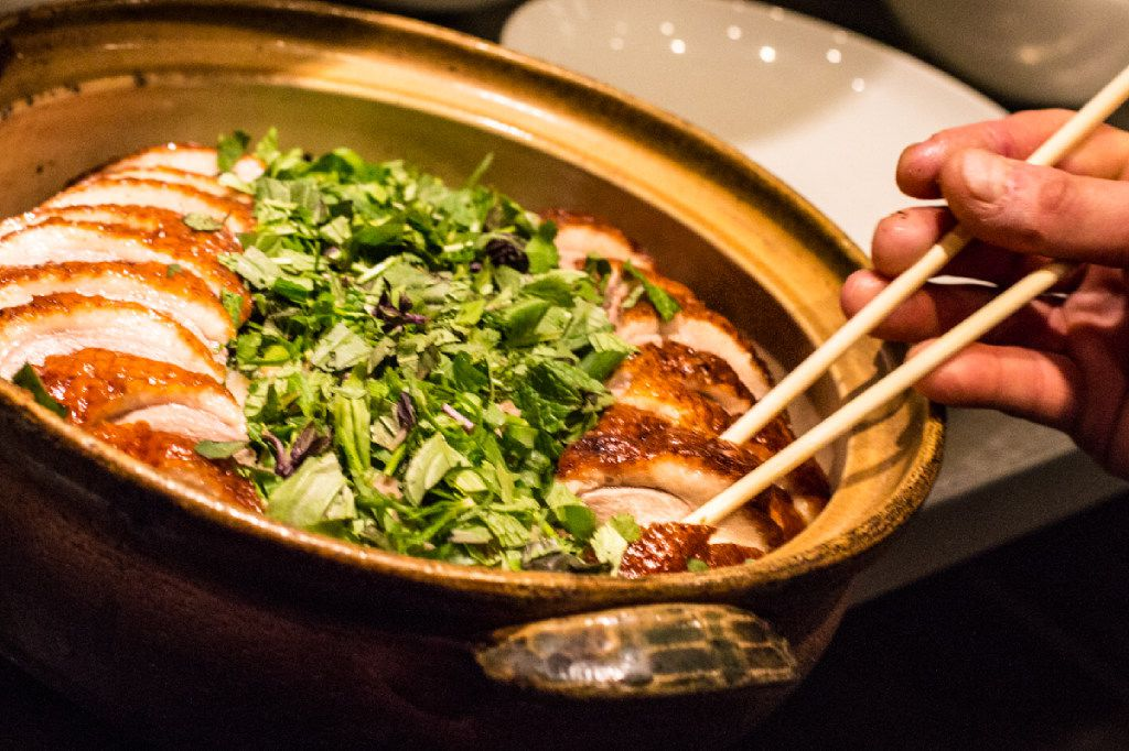 The crisp-skinned roasted duck is among the standouts at Momofuku Las Vegas.