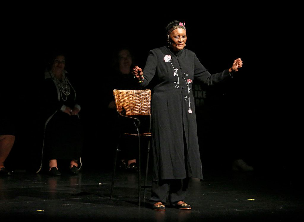 """Dr. Njoki McElroy tells her story during the """"Freedman's Town to Botham Jean: Stories for Racial Healing"""" event."""