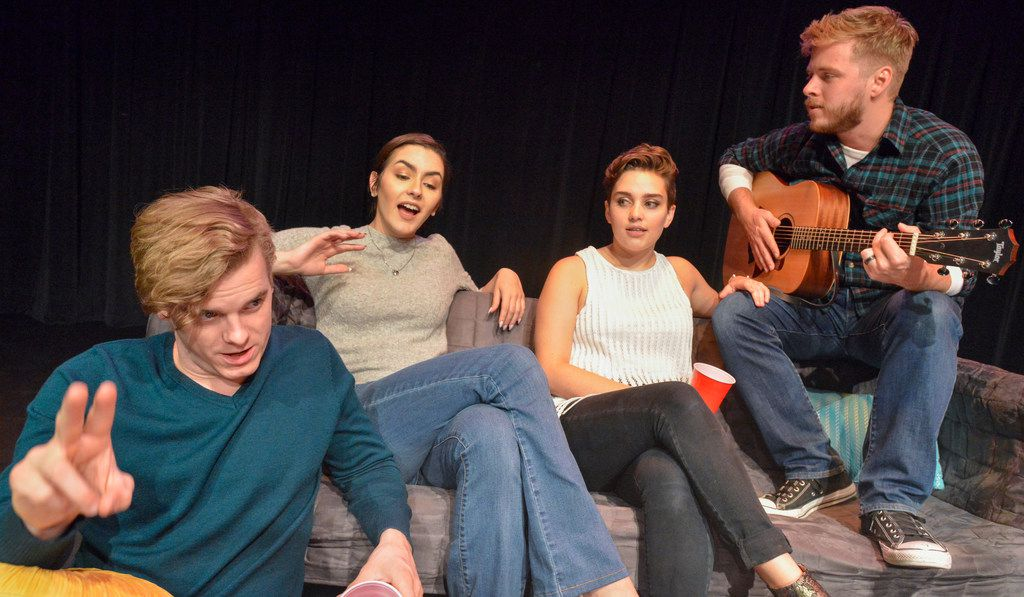 Devin Berg's Suckers, also produced by Imprint Theatreworks, is on the lineup at the 20th annual Festival of Independent Theatres at the Bath House Cultural Center. Matthew Allan Holmes (from left), Natalie Hope Johnson, Cameron Casey and Josh Bangle star. (Robert W. Hart/Special Contributor)