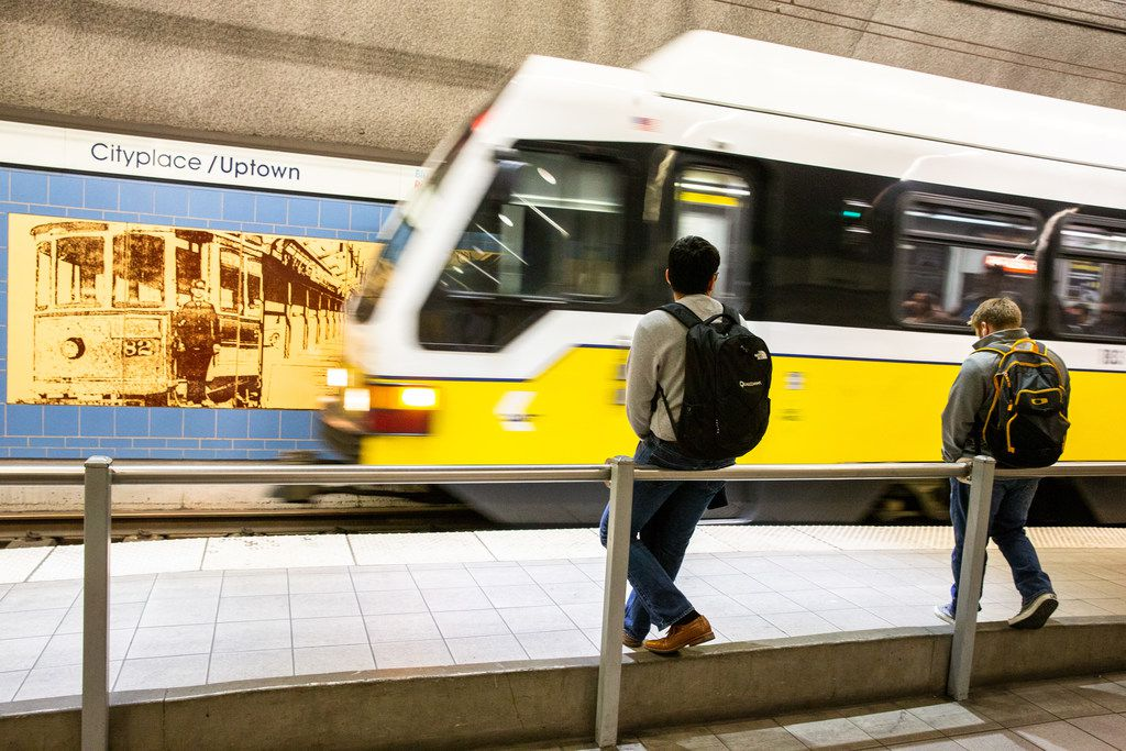 The  Cityplace/Uptown Station in Dallas will be among the easiest of DART's 28 extensions to pre-2004 platforms in a $125 million program that received a grant through the Federal Transportation Administration on Thursday. The underground station was built to a longer length, but much of it is separated by a wall so that the current configuration more closely matches the 300-foot length of previous platforms along the red and blue train lines. (Shaban Athuman/The Dallas Morning News)