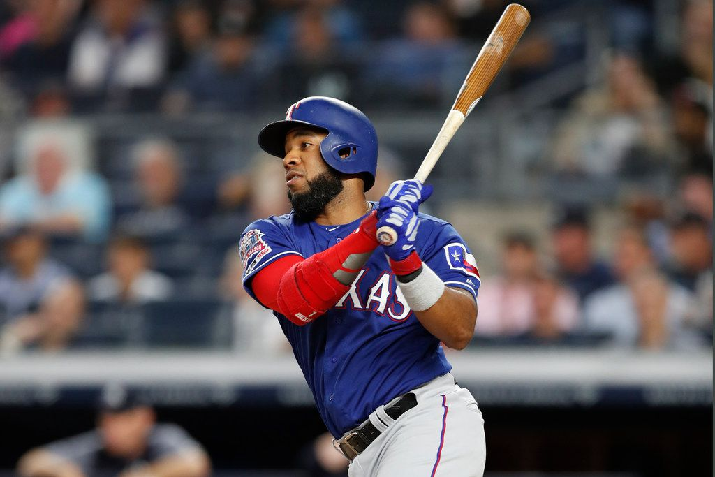 Texas Rangers' Elvis Andrus in action in a baseball game against the New York Yankees, Tuesday, Sept. 3, 2019, in New York. (AP Photo/Kathy Willens)