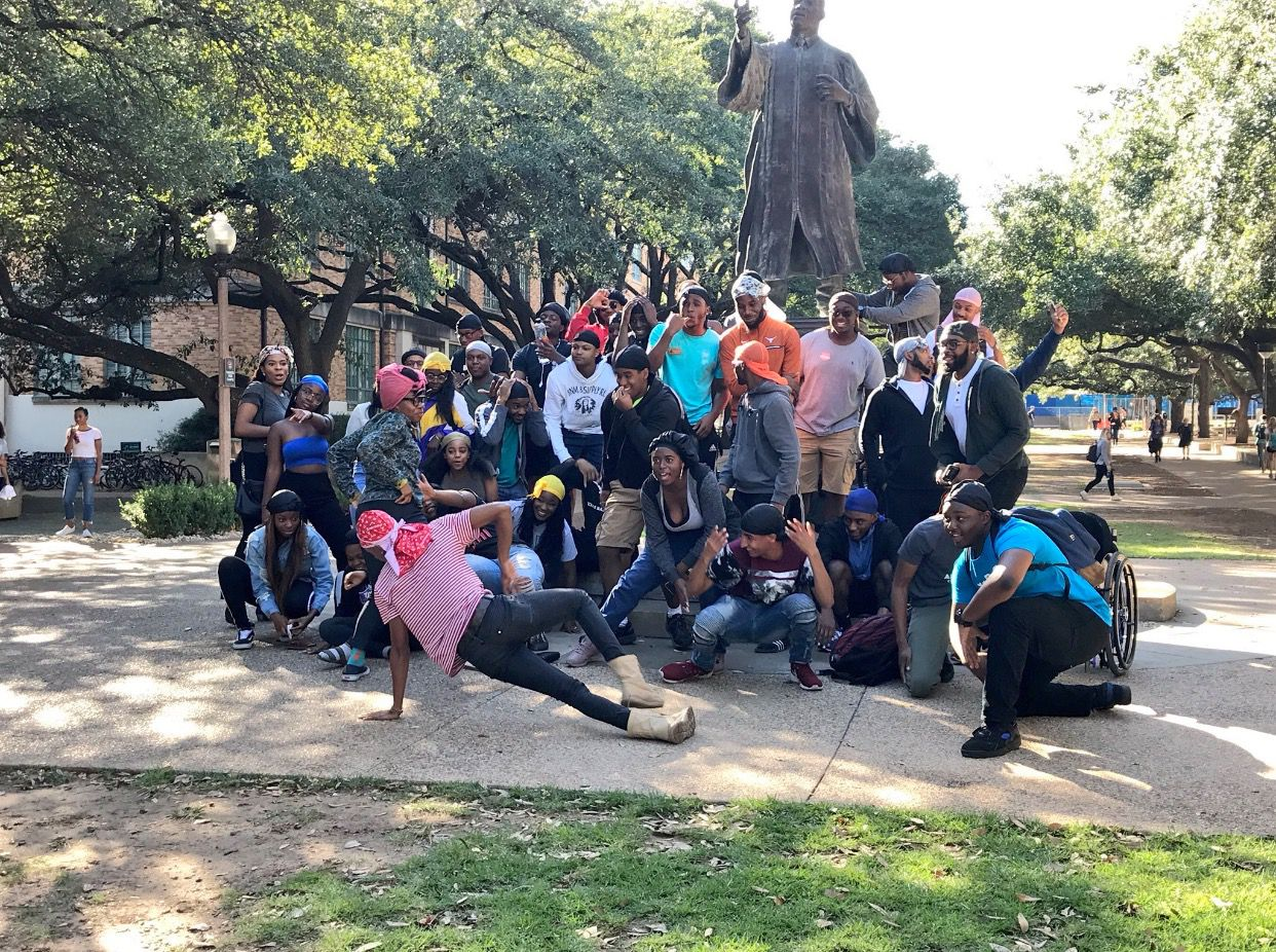 UT students Mbayi Aben, Chris Plummer, Ukairo Ukairo and Jonathon McDaniel helped organize #UTDuragDay and it's now inspiring other black students on college campuses in Texas.