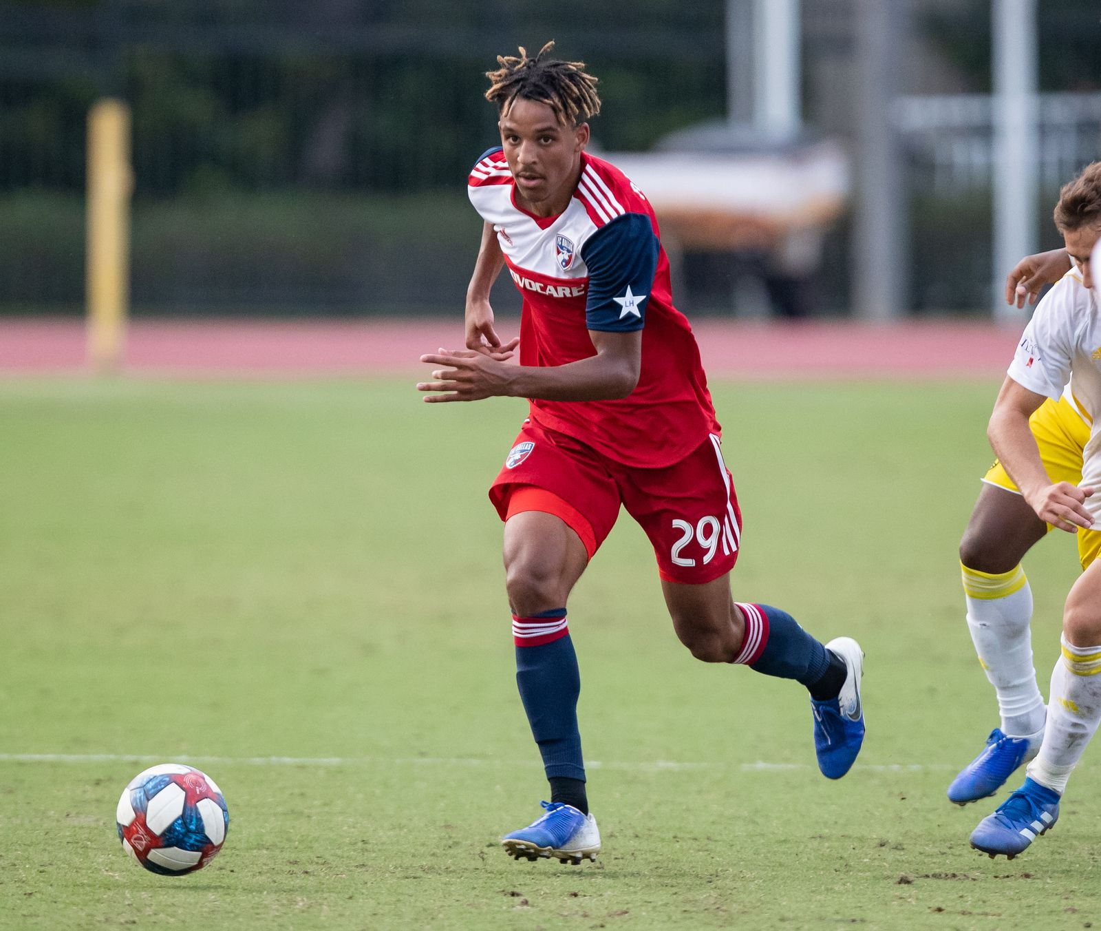 DALLAS, TX - JUNE 19: Bryan Reynolds in action during the Lamar Hunt U.S. Open Cup round of 16 soccer game between FC Dallas and New Mexico United on June 19, 2019 at Westcott Field in Dallas, Texas.  (Photo by Matthew Visinsky)