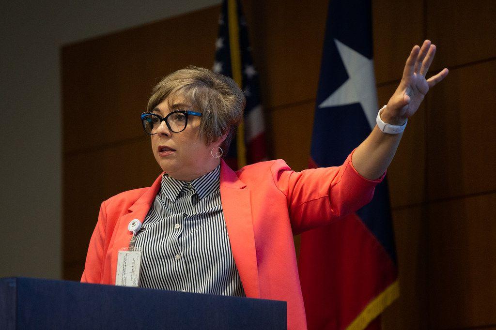 Jordana Barton, senior advisor at the Federal Reserve Bank of Dallas, helped organize the Digital Inclusion Summit at the Federal Reserve Bank of Dallas on Aug. 6. She's had similar events in San Antonio and in Rockport. (Lynda M. Gonzalez/The Dallas Morning News)