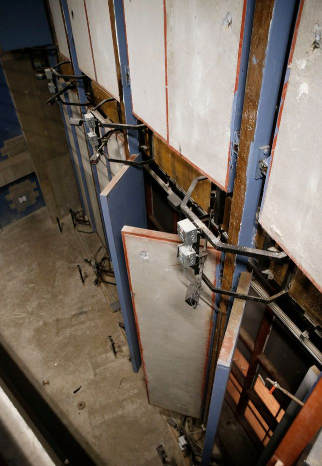 Some of the concrete doors are currently not in operating condition in the reverb chamber of the Meyerson Symphony Center.