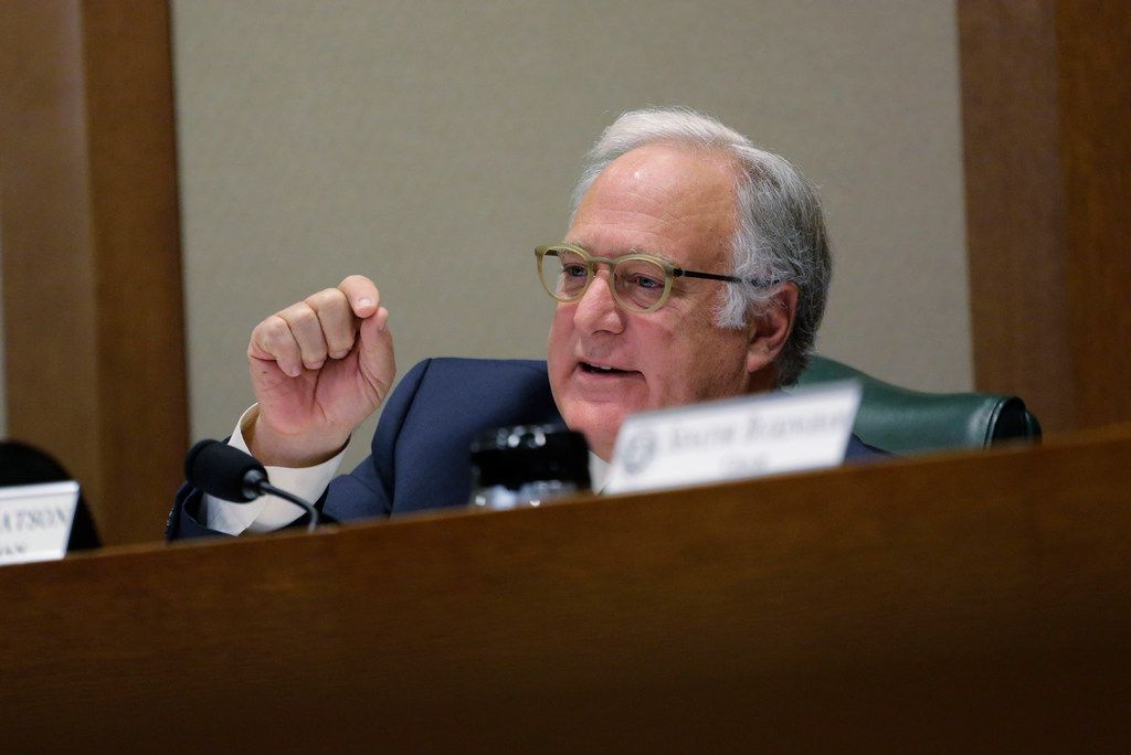 Sen. Kirk Watson, D-Austin, questions Secretary of State David Whitley during his confirmation hearing, Thursday, Feb. 7, 2019, in Austin, Texas, where Whitley addressed the backlash surrounding Texas' efforts to find noncitizen voters on voter rolls. (AP Photo/Eric Gay)