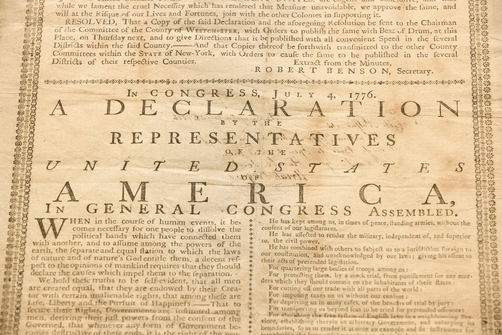 In this Monday, June 17, 2019 photo, shown is Holly Metcalf Kinyon's 1776 broadside printing of the Declaration of Independence at the Museum of the American Revolution in Philadelphia. Metcalf Kinyon, a descendent of Declaration signer John Witherspoon, has lent her document to the museum to be displayed until the end of the year.