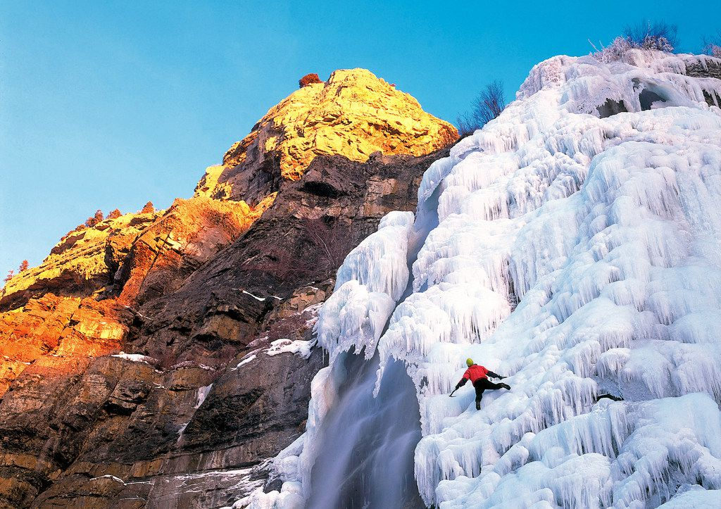 The 607-foot-tall Bridal Veil Falls unleashes curtains of water in the summer and freezes over in the winter, becoming an ice climber's dream.