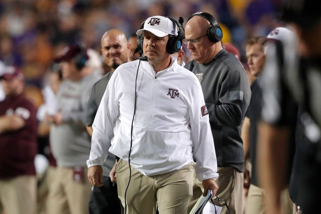 Texas A&M coach Jimbo Fisher walks along the sideline during the first half of the team's NCAA college football game against Texas A&M in Baton Rouge, La., Saturday, Nov. 30, 2019. LSU won 50-7. (AP Photo/Gerald Herbert)