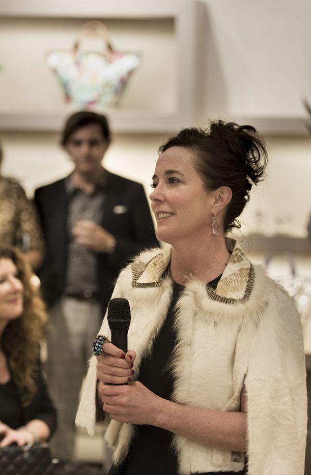 Kate Spade speaks to the crowd during an event at Hall's on Grand at Crown Center Plaza in 2016.