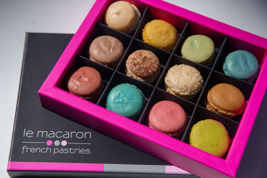 Le Macaron sells some unexpected flavors, like very berry violet (top right), and red velvet (bottom left).