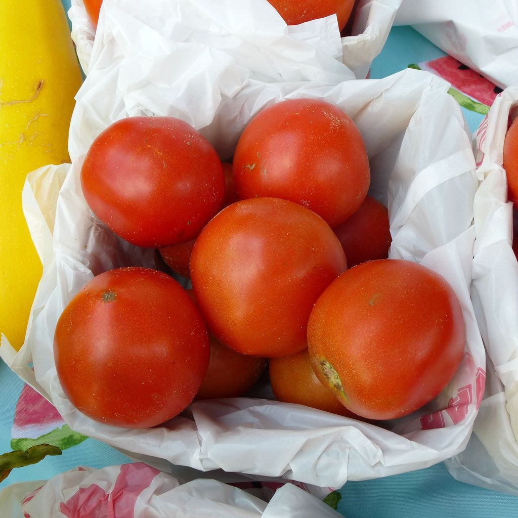 Baugh Farms was selling some of the first local field tomatoes at the McKinney Farmers Market last Saturday.