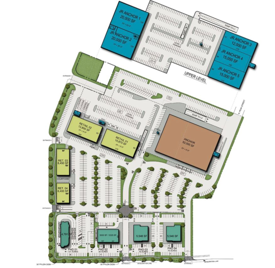 The new shopping center would contain a variety of retail buildings - the largest the size of a supermarket - plus a parking garage.
