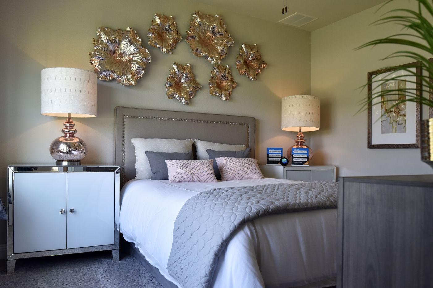 The bedroom of an extra suite inside a Lennar Homes model house in Far North Dallas is designed for elderly parents or dependent children.