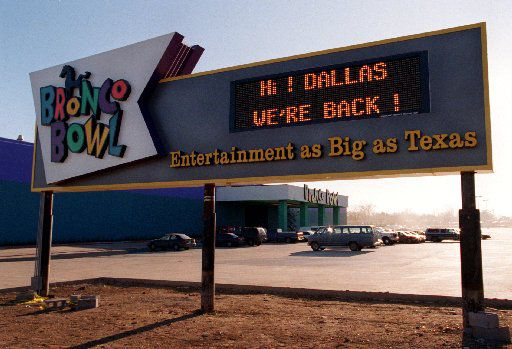 A sign at the Bronco Bowl at 2600  Fort Worth Ave. brags about the reopening going on. The new Bronco Bowl boasted new billiards, an arcade, a concert stage, a  sports bar, a dance floor, and of course, bowling lanes.