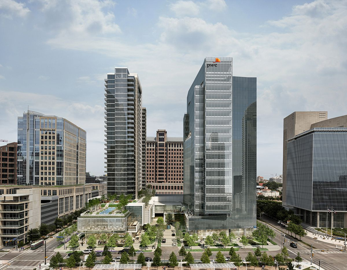 The 2-tower Park District project is at Pearl and Woodall Rodgers Freeway.